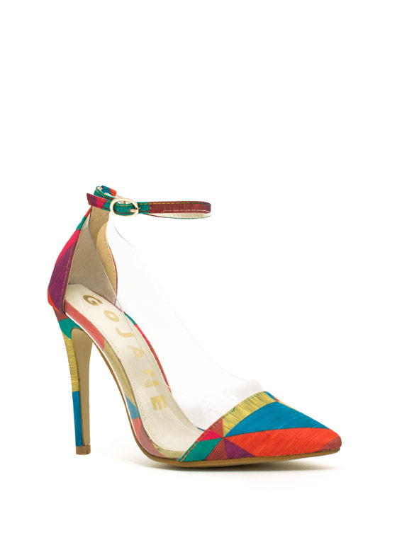 Traffic Colorblock Clear Inset Heels RAINBOW