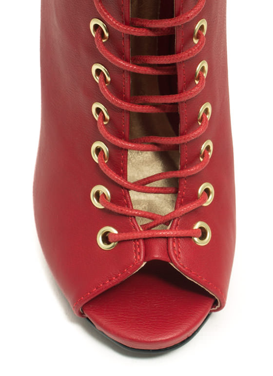 Better Laced Than Never Booties RED