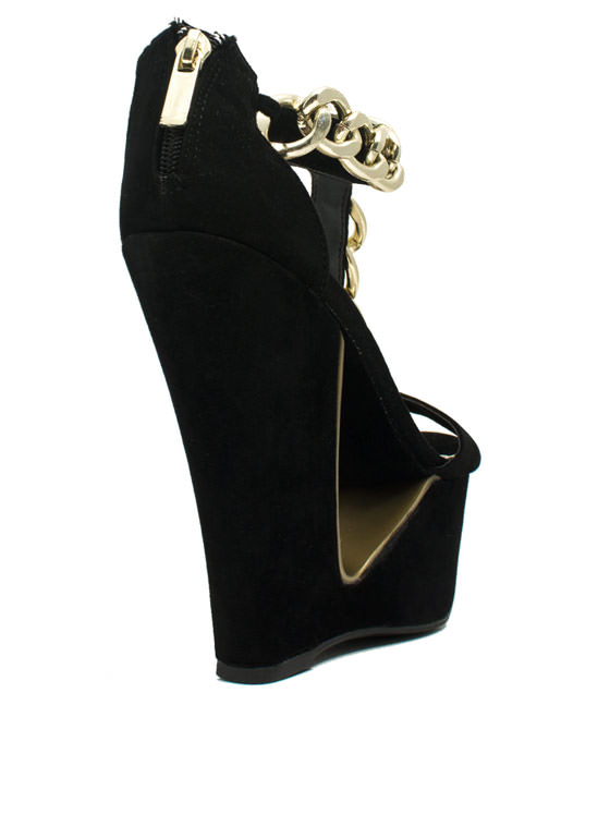 Chain Smokin' Strappy Cut-Out Wedges BLACK
