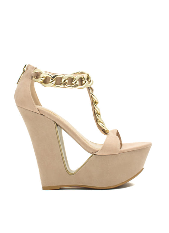 Chain Smokin' Strappy Cut-Out Wedges NUDE