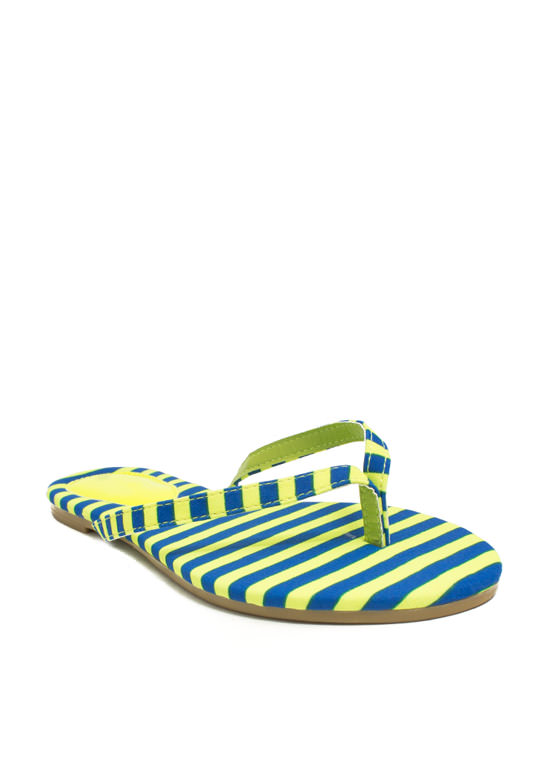 Print-cess Faux Patent Thong Sandals YELLOWBLUE