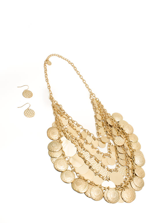 Layered Medallion Necklace Set GOLD