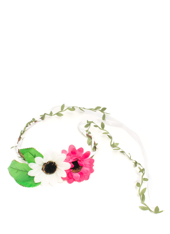 Double Daisy Floral Headband WHITEMULTI