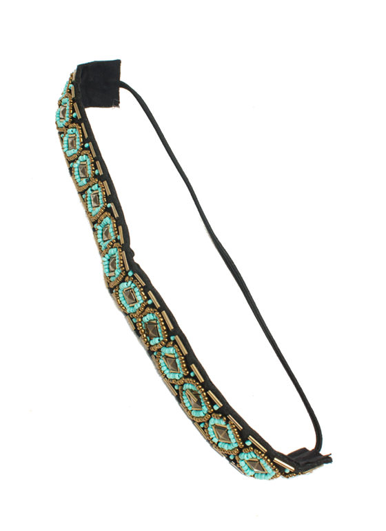 Tribal Beaded Headband BLACKTURQ