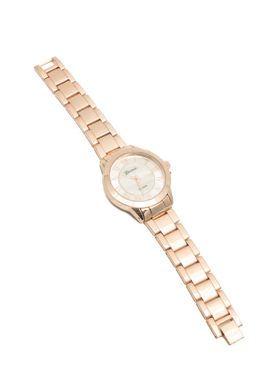 Shiny Pearl Center Boyfriend Watch ROSEGOLD