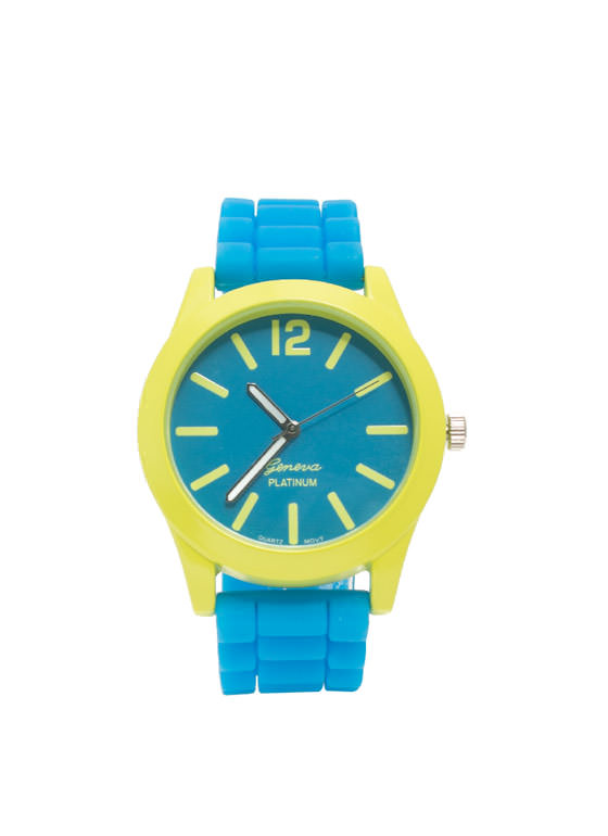 Two-Tone Neon Contrast Silicone Watch BLUE