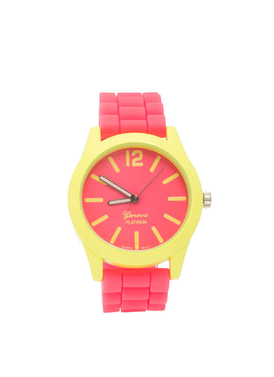 Two-Tone Neon Contrast Silicone Watch NEONPINK