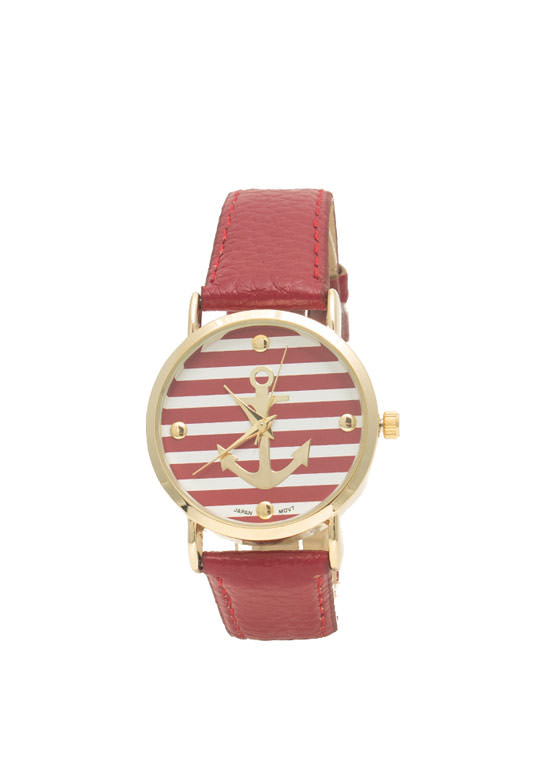 Faux Leather Striped Anchor Watch RED
