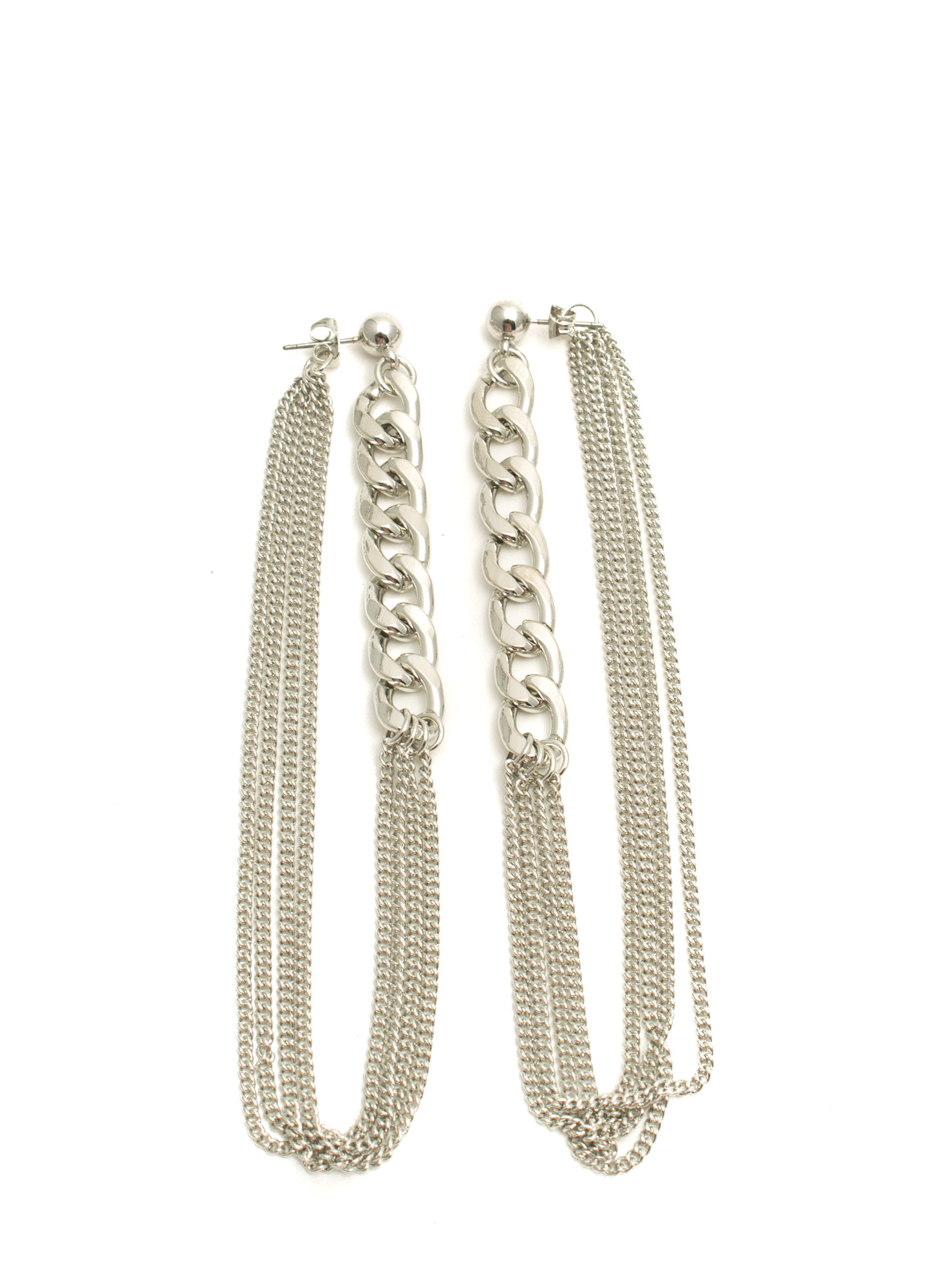 Double Up Chain Earrings SILVER