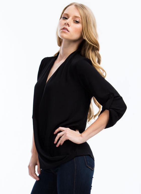 Twist 'N Shout Surplice Top BLACK