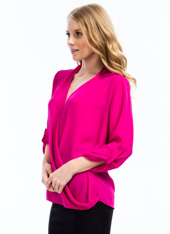 Twist N Shout Surplice Top FUCHSIA