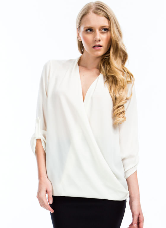 Twist 'N Shout Surplice Top IVORY