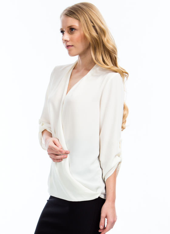 Twist N Shout Surplice Top IVORY