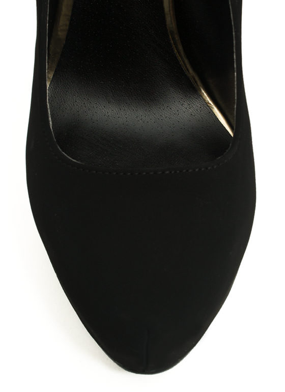 Stitched N Zipped Platform Heels BLACK