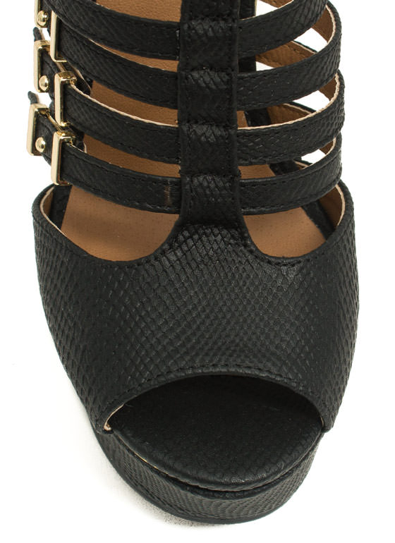 Slither Along Reptile Platform Wedges BLACK