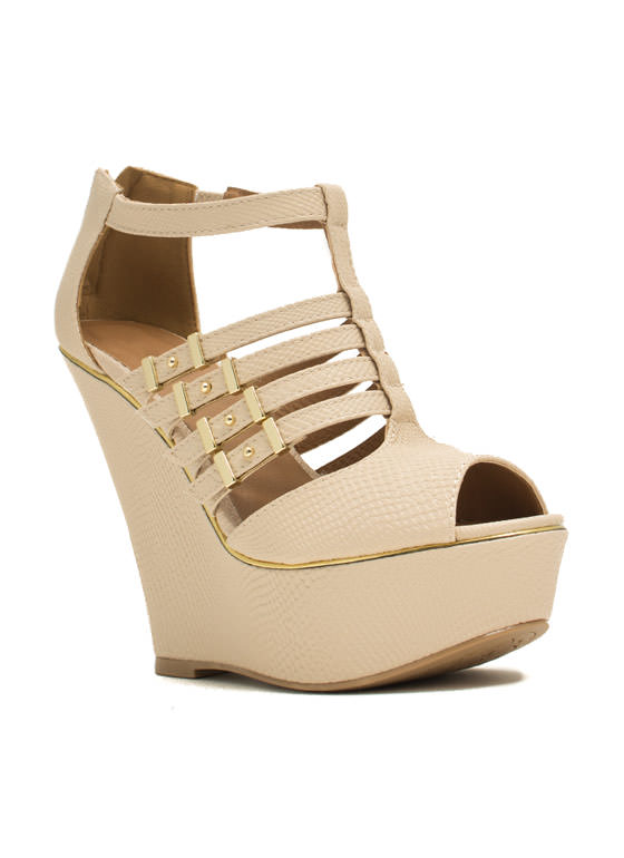 Slither Along Reptile Platform Wedges NUDE
