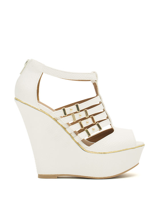 Slither Along Reptile Platform Wedges WHITE