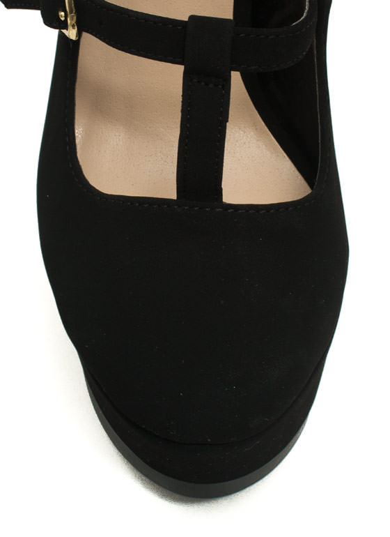 To A T-Strap Mary Jane Platform Heels BLACK