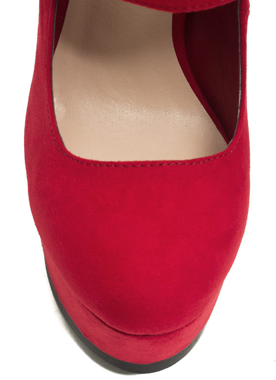 Faux Suede Double Take Heels RED