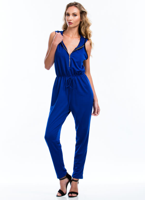 Hooded Terry Zip-Up Jumpsuit ROYAL