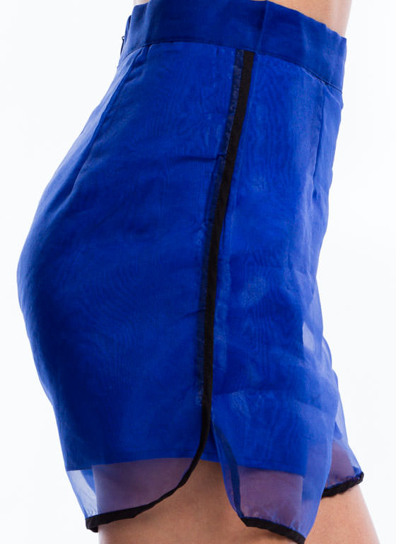 Accent Trim Organza Shorts ROYAL