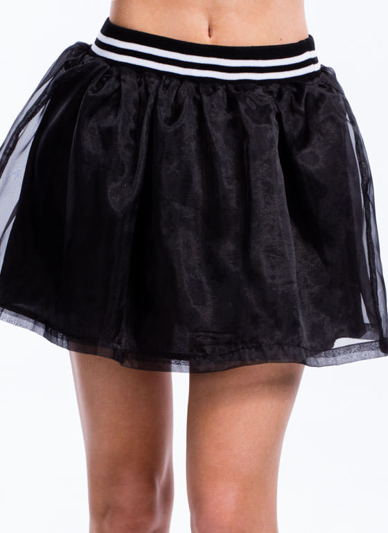 Varsity Organza Skirt BLACK