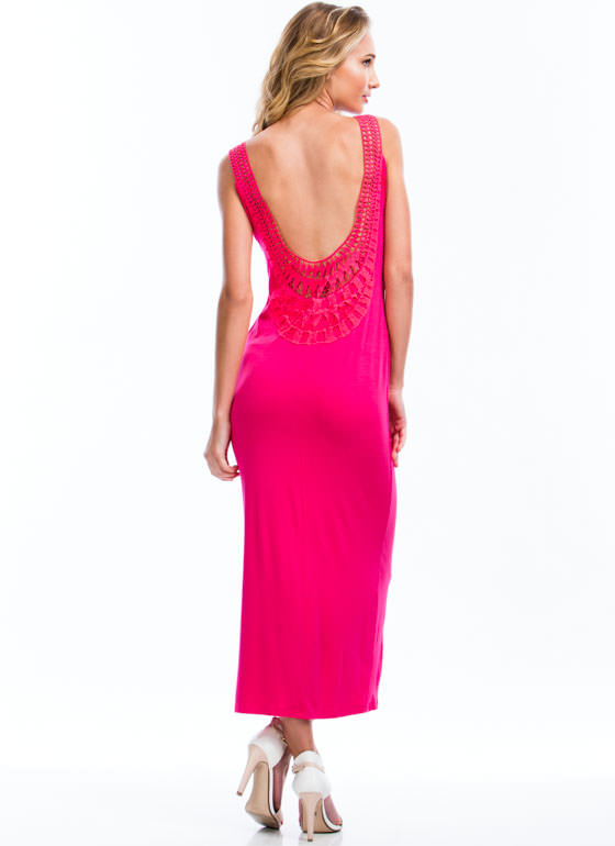 Crochet Back Maxi Dress FUCHSIA