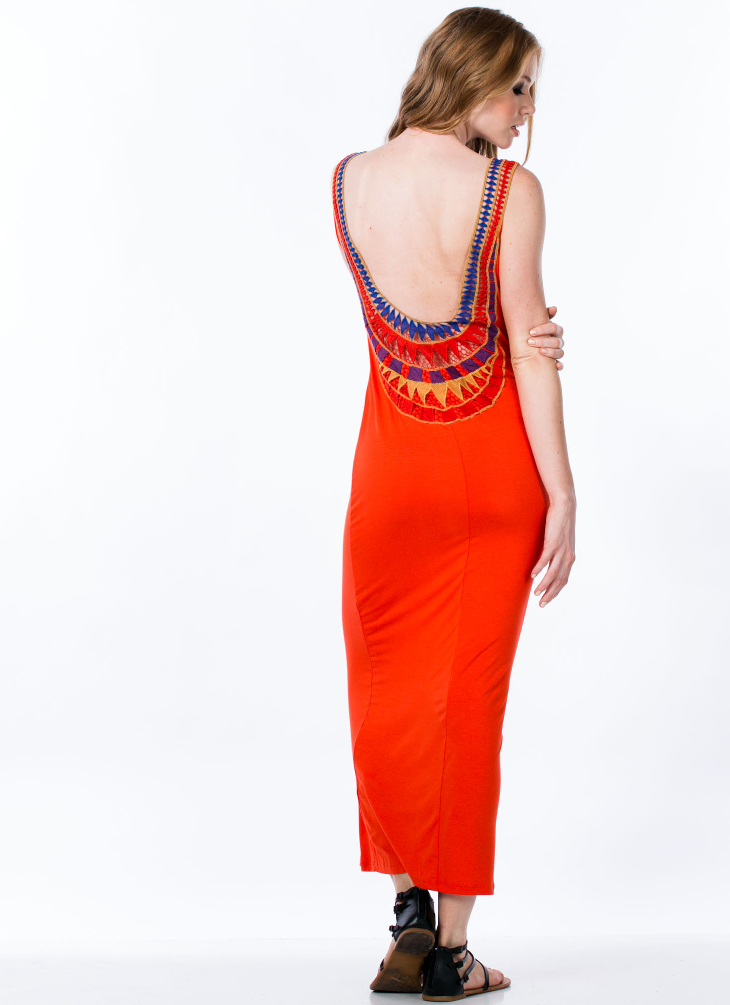 Crochet Back Maxi Dress ORANGE