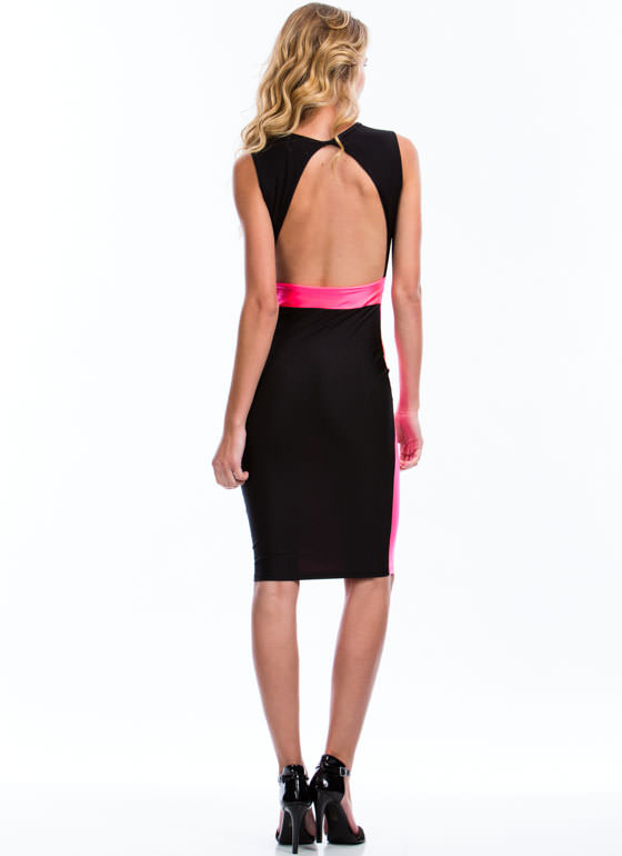 Colorblock My World Bodycon Dress BLACK