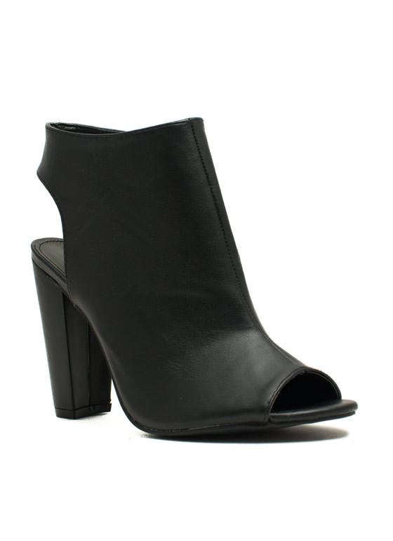 Cut-Out Bootie Heels BLACK