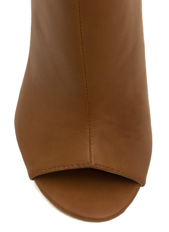 Cut-Out Bootie Heels CAMEL