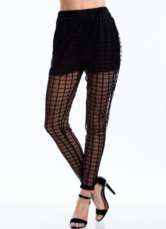 Go To Grid Lengths Sheer Mesh Pants BLACK