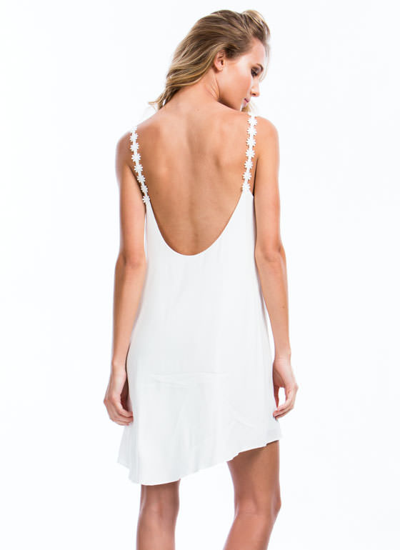 Daisy Chains Cami Shift Dress WHITE