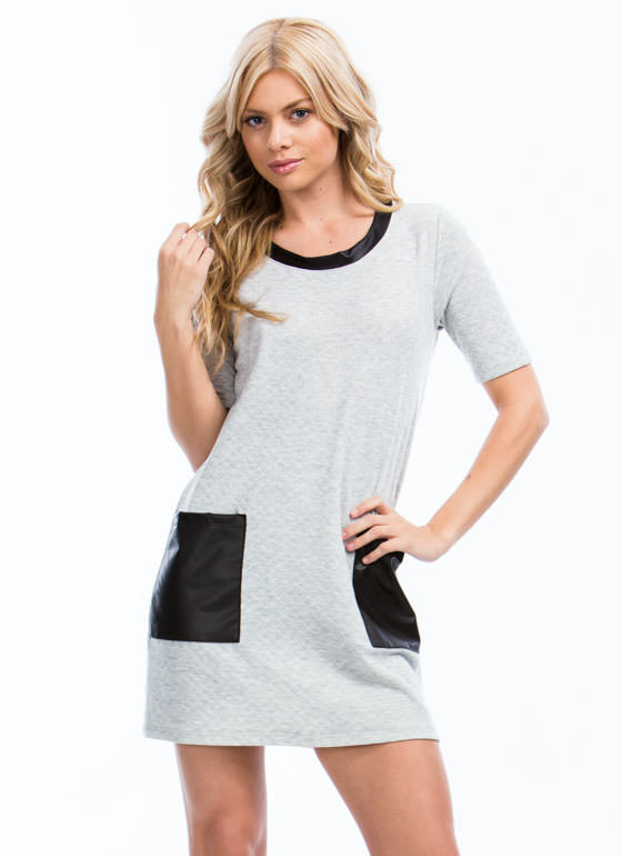 Pocket Scientist Quilted Shirt Dress GREY