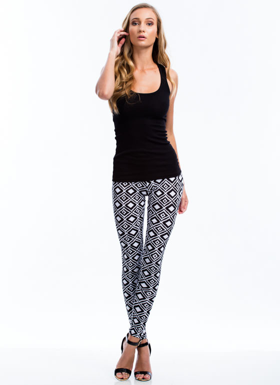 Diamond Geo Print Leggings BLACK