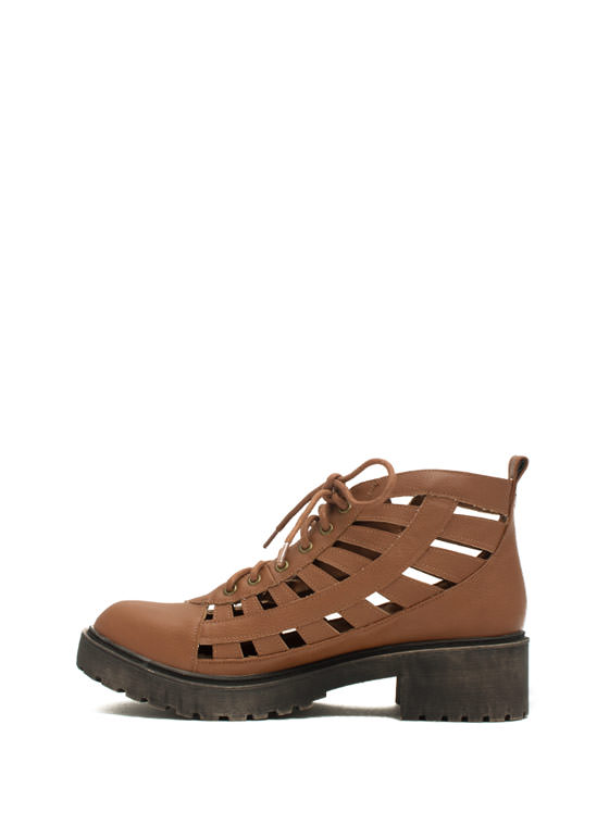 Latticed Cut-Out Booties COGNAC