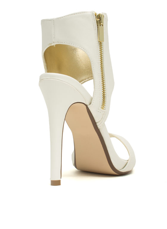 Wide Cuff Zippered Heels WHITE