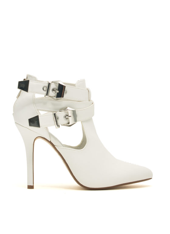 Edgy Girl Faux Leather Stiletto Booties WHITE