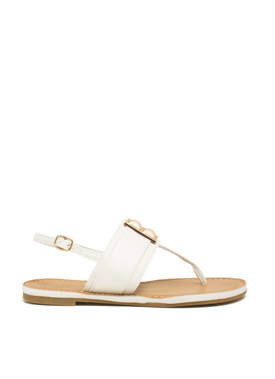 Faux Leather Studded T-Strap Sandals WHITE