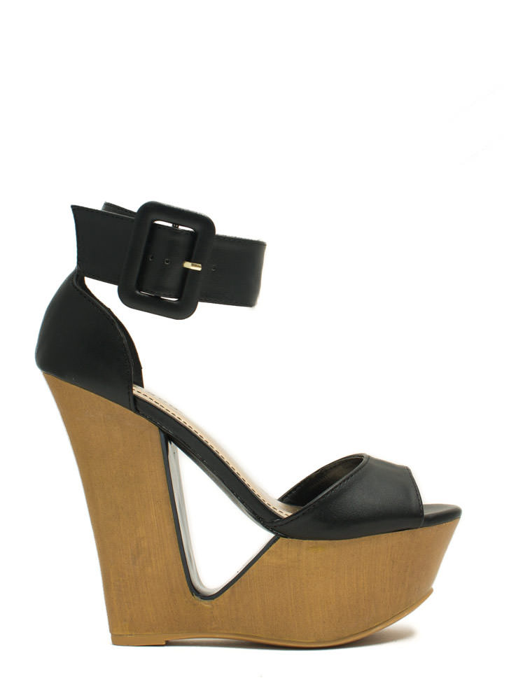 Cut It Out Buckled Ankle Cuff Wedges BLACK