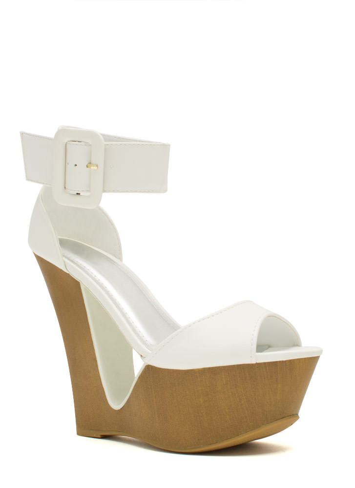 Cut It Out Buckled Ankle Cuff Wedges WHITE