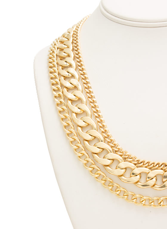 Layers Of Chains Necklace Set GOLD