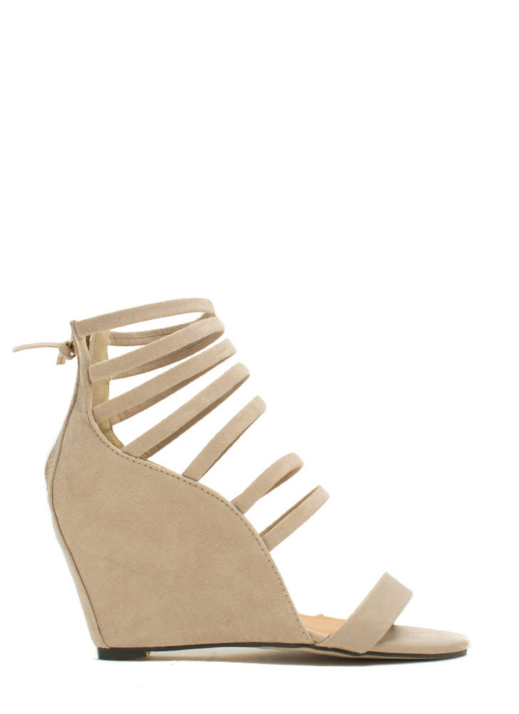 Strappy Hour Mixed Media Wedges NUDE