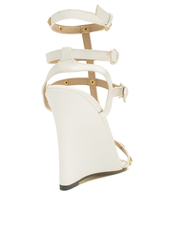 Pyramid Studded Strappy Wedges WHITE