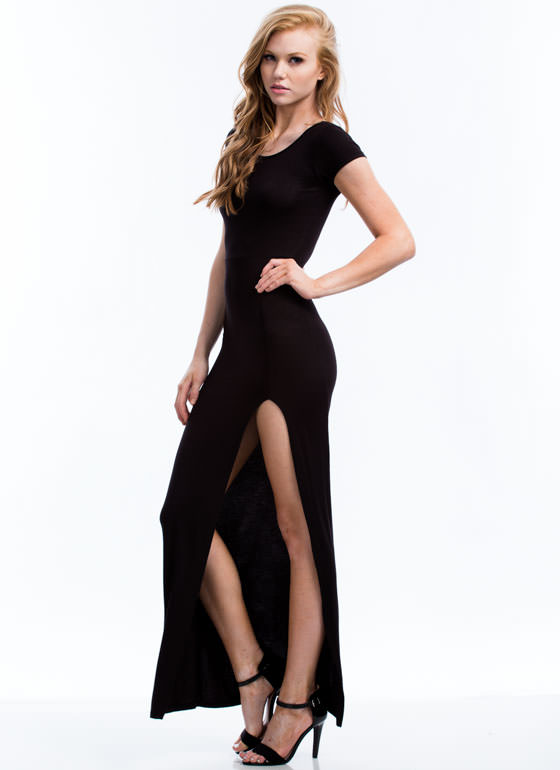 Basic Single Slit Maxi Dress BLACK