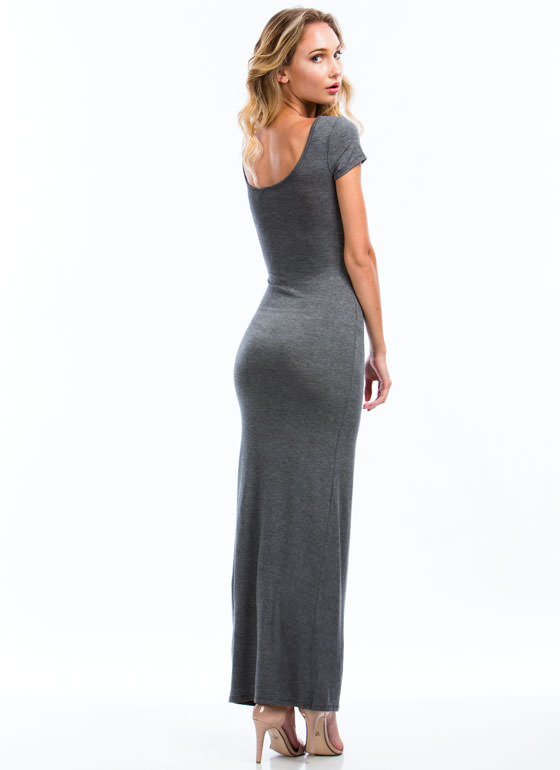 Basic Single Slit Maxi Dress CHARCOAL