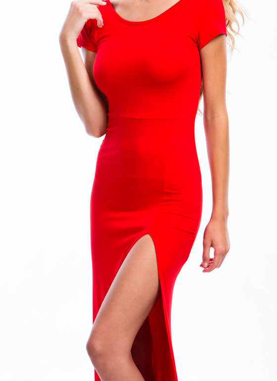 Basic Single Slit Maxi Dress RED