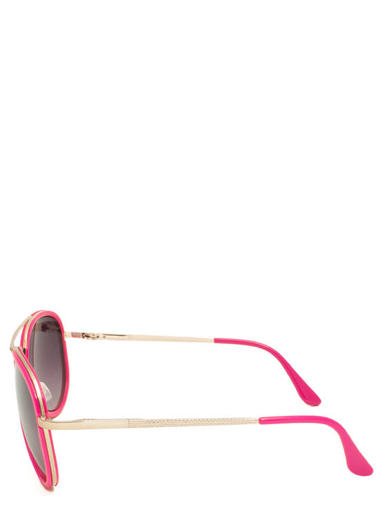 Color Me Surprised Aviator Sunglasses FUCHSIA