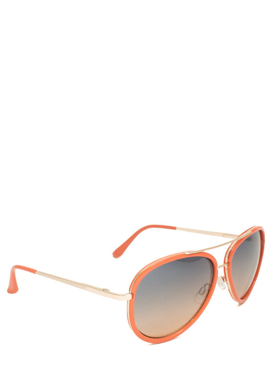 Color Me Surprised Aviator Sunglasses ORANGE