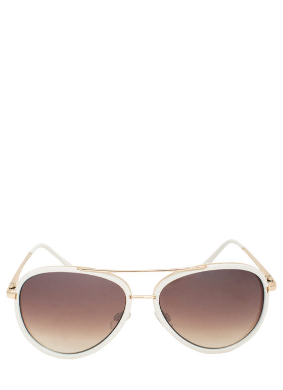 Color Me Surprised Aviator Sunglasses WHITE